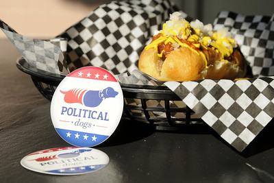 An impressive gourmet hotdog at Political Dogs at Town Square in Glade Spring, VA on Friday, August 1, 2014. Copyright 2014 Jason Barnette