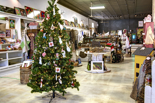 A Christmas tree greets visitors to Fiddlehead Junction, a place for locally-made artwork and crafts to be sold on consignment, in Glade Spring, VA on Friday, December 13, 2013. Copyright 2013 Jason Barnette