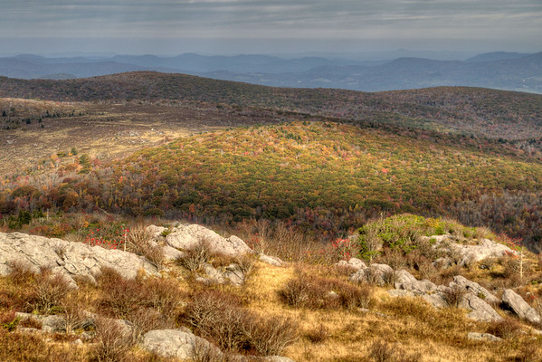 The view from the top of Wilburn Ridge on the Appalachian Trail just outside Grayson Highlands State Park in Mouth of Wilson, VA on Tuesday, October 15, 2013. Copyright 2013 Jason Barnette  Wilburn Ridge sits along the Appalachian Trail about a mile from the northern edge of Grayson Highlands State Park. While the Appalachian Trail crosses the ridge, the Rhododendron Trail and Virginia Highlands Horse Trail move around the base of the ridge towards Thomas Knob.