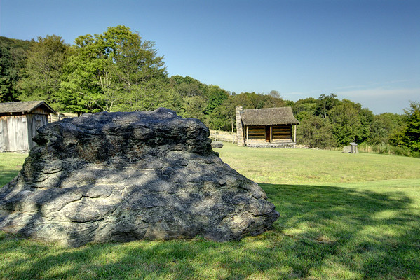 A large boulder sits in the middle of the homestead area at Grayson Highlands State Park in Mouth of Wilson, VA on Thursday, August 2, 2012. Copyright 2012 Jason Barnette