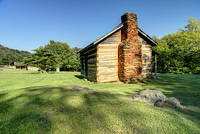 One of the many rustic homes in the homestead area at Grayson Highlands State Park in Mouth of Wilson, VA on Thursday, August 2, 2012. Copyright 2012 Jason Barnette