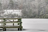 A wooden dock with a picnic table is surrounded by the frozen waters of the lake and a fresh snow at Hungry Mother State Park in Marion, VA on Tuesday, January 21, 2014. Copyright 2014 Jason Barnette