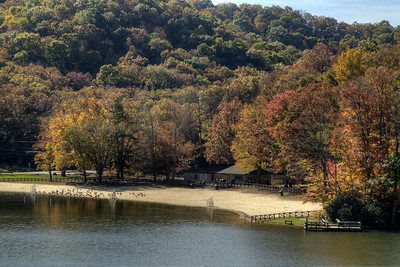 A view of the beach at Hungry Mother State Park in Marion, VA on Sunday, October 19, 2014. Copyright 2014 Jason Barnette