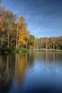 A few brilliant colors along the edge of the lake near the wooden footbridge at Hungry Mother State Park in Marion, VA on Sunday, October 19, 2014. Copyright 2014 Jason Barnette
