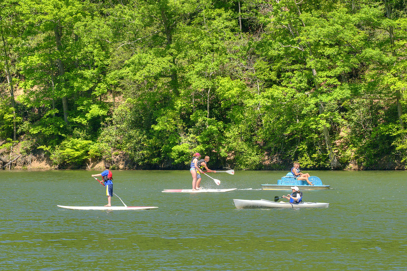 People enjoy paddleboarding, paddleboating, and kayaking on the lake at Hungry Mother State Park in Marion, VA on Saturday, May 24, 2014. Copyright 2014 Jason Barnette