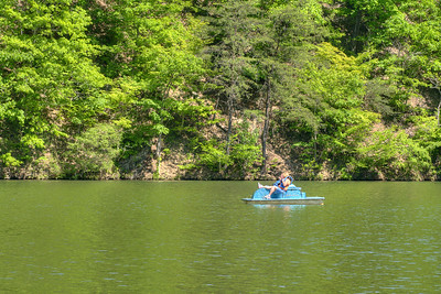 A lone rider relaxes on a paddleboat on the lake at Hungry Mother State Park in Marion, VA on Saturday, May 24, 2014. Copyright 2014 Jason Barnette