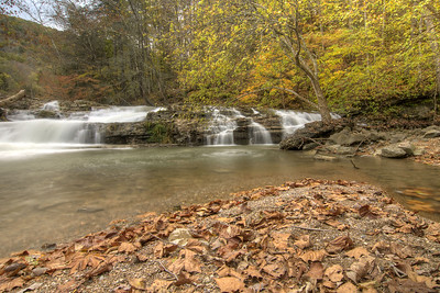 Freshly fallen leaves cover the ground before Big Falls at the Pinnacle Natural Area Preserve in Lebanon, VA on Tuesday, October 21, 2014. Copyright 2014 Jason Barnette