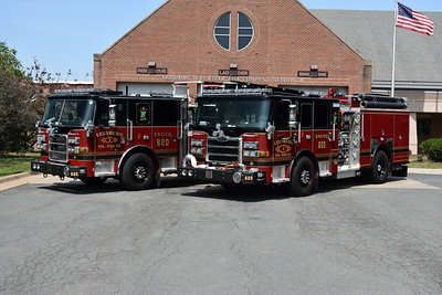 Leesburg Truck 620 (left) and Engine 620, both 2019 Pierce's, as photographed in August of 2019.