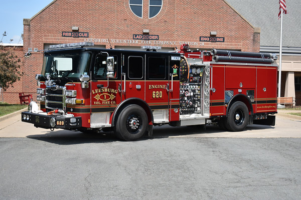 Leesburg, Virginia Engine 620 is a 2019 Pierce Enforcer 1500/750/60 with Pierce job number 32411.  Photographed in August of 2019 in front of Station 20.  Engine 620 is dedicated to LVFC member Tommy Downs.