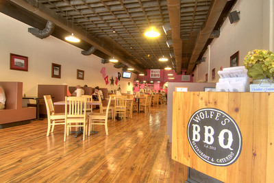 The hardwood floors and high ceilings inside Wolfe's BBQ Restaurant & Catering on Main Street in Marion, VA on Tuesday, August 6, 2013. Copyright 2013 Jason Barnette