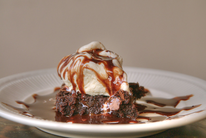 A brownie with vanilla ice cream at Wolfe's BBQ Restaurant & Catering on Main Street in Marion, VA on Tuesday, August 6, 2013. Copyright 2013 Jason Barnette