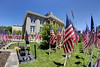 Hundreds of flags on display for Memorial Day on the front lawn of the Smyth County Court House in Marion, VA on Saturday, May 24, 2014. Copyright 2014 Jason Barnette  Each year the local VFW holds a fundraiser by selling the flags and crosses to families and friends of county veterans. The flags and crosses are then put on display on the lawn of the Smyth County Court House for the Memorial Day weekend and holiday.