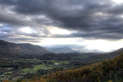 Sunlight breaks through the clouds at the Powell Valley Overlook on Highway 23 in Norton, VA on Saturday, October 25, 2014. Copyright 2014 Jason Barnette