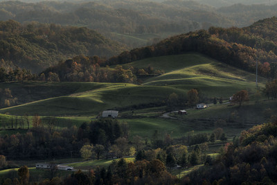 Deep shadows and textures appear on the hill at the Powell Valley Overlook on Highway 23 in Norton, VA on Saturday, October 25, 2014. Copyright 2014 Jason Barnette