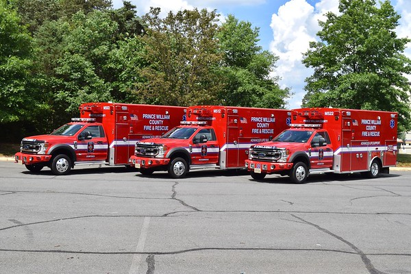 Photographed prior to entering into service - Medic 503, Medic 512, and Medic 522.    2020 Ford F-550/Braun Chief XL.