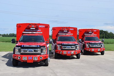 Prince William's Medic 524 (Antioch), 523 (River Oaks), and 507 (Lake Jackson).  Photographed at the Braun factory prior to delivery.