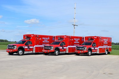 Medics 524 (Antioch), 523 (River Oaks), and 507 (Lake Jackson).  These three 2019 Ford F-550 4x4/2018 Braun Chief XL I's were photographed prior to delivery.  M524 carries Braun #8040 (FS #4525), M523 carries Braun #8039 (FS #4523), M507 caries Braun #8038 (FS #4522).