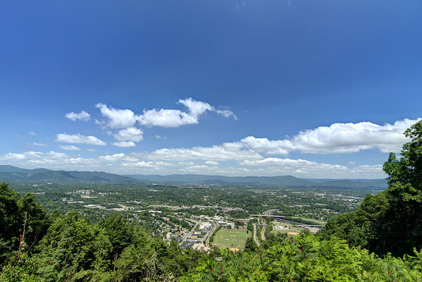 A view of the valley below from an overlook at the Mill Mountain Zoo at Mill Mountain Park in Roanoke, VA on Friday, July 4, 2014. Copyright 2014 Jason Barnette