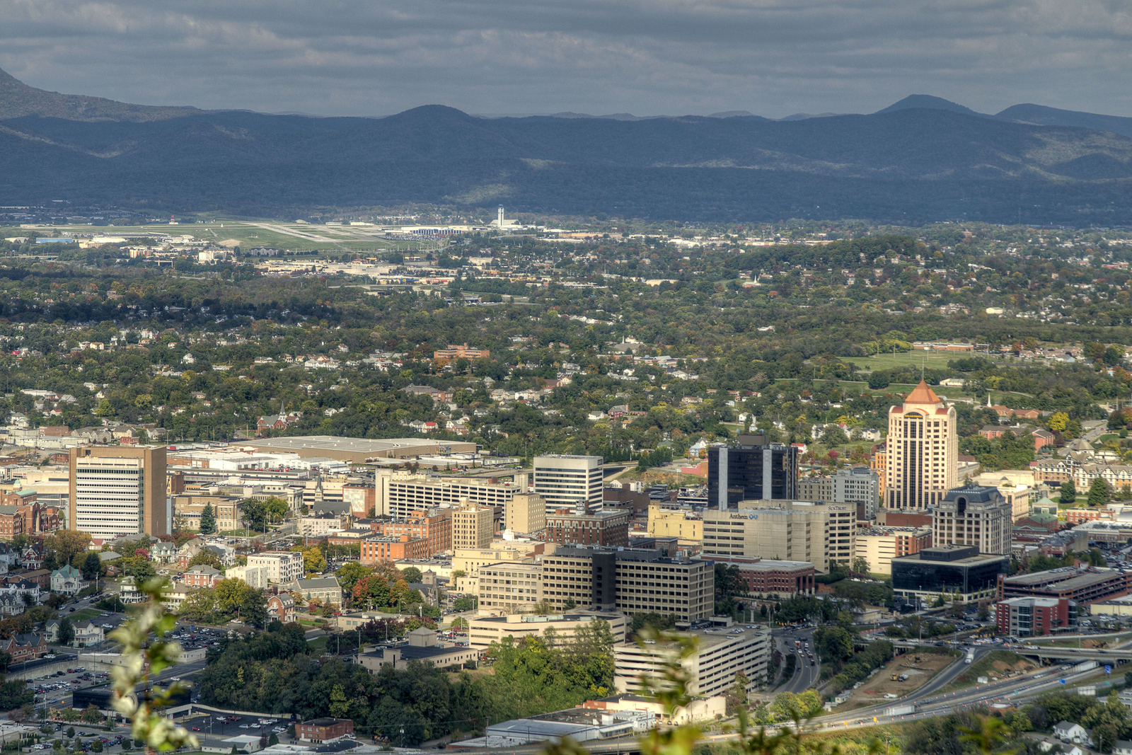View of the downtown area and Allegheny Mountains from the Roanoke Star Overlook at Mill Mountain Park in Roanoke, VA on Friday, October 25, 2013. Copyright 2013 Jason Barnette