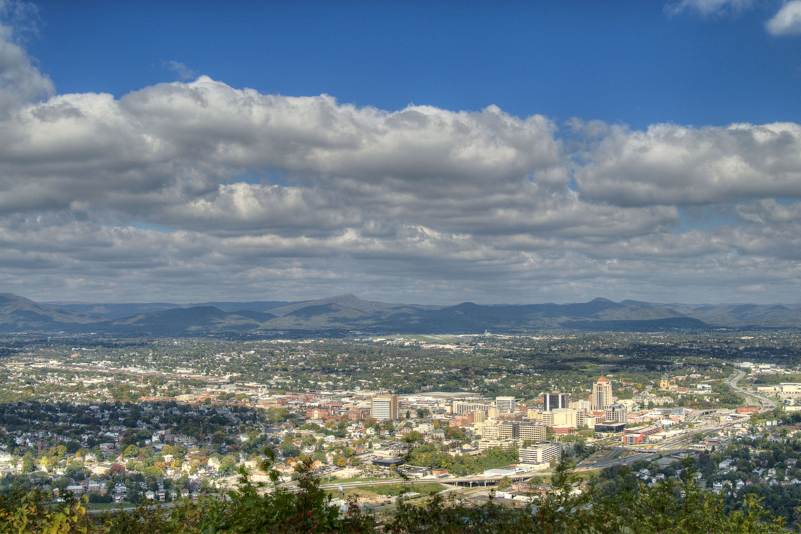 A view of the downtown area and greater Roanoke Valley area from the Roanoke Star Overlook at Mill Mountain Park in Roanoke, VA on Friday, October 25, 2013. Copyright 2013 Jason Barnette