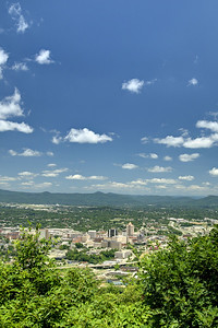 The view of the downtown city from the lower Mill Mountain Overlook in Roanoke, VA on Friday, July 4, 2014. Copyright 2014 Jason Barnette