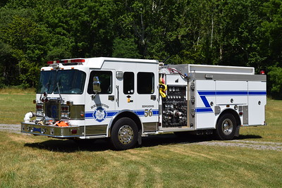 Engine 56 is a 2001 Spartan Gladiator/2002 Smeal, 1500/600/20/20, sn-2014110 that is ex-Ashburn, Virginia.  Bergton received this engine in 2014.