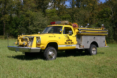 Former Attack 56, a 1974 Dodge Power Wagon Custom 30/E.W. Stinebaugh & Son, 500/300.   It originally was delivered new to the Ashburn VFD in Loudoun County, Virginia.  Acquired by the Muth family from Ashburn in 2012.