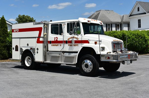 Woodstock, Virginia Shenandoah County Engine 12 1996 Freightliner 80 4x4/Boise Mobile Equipment (BME) 1000/500/40A s/n 17842261  Primary role is Wildland Interface Unit, supports Brush 12, and water supply unit in county.