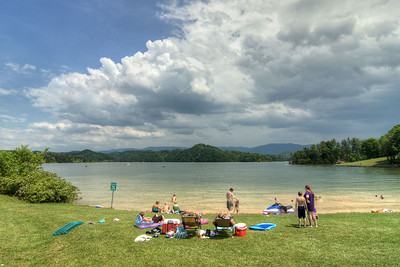 People enjoy a day on the beach at Observation Knob Park on South Holston Lake near Bristol, TN on Sunday, June 9, 2013. Copyright 2013 Jason Barnette