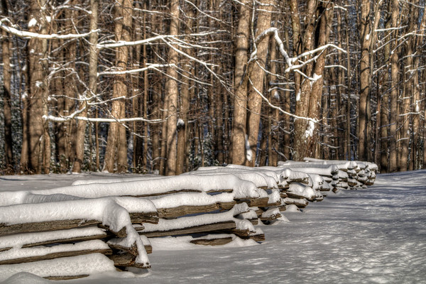Snow-Covered Rustic Fence in Sugar Grove, VA