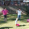 Playing in Lisa's backyard