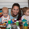 Christina with Chance and Savannah at dinner time
