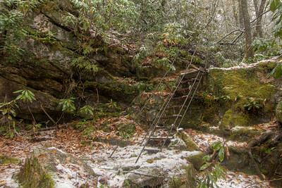 A sturdy metal staircase provides access to the creek near Trestle #21 on the Virginia Creeper Trail in Damascus, VA on Saturday, November 1, 2014. Copyright 2014 Jason Barnette