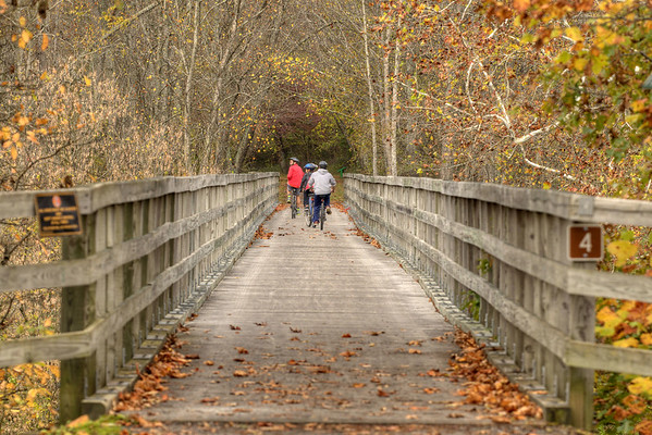 A group of bicycle riders cross a trestle at Watauga Road on the Virginia Creeper Trail in Abingdon, VA on Friday, October 24, 2014. Copyright 2014 Jason Barnette