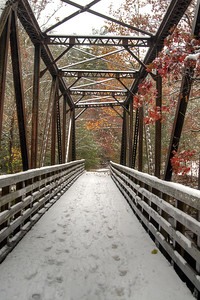 A few colors peak out around the snow covered ground at Trestle #18 on the Virginia Creeper Trail in Damascus, VA on Saturday, November 1, 2014. Copyright 2014 Jason Barnette