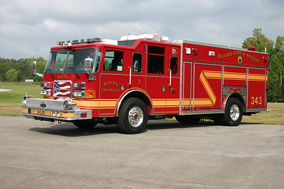 Engine 343 from Blairs, Virginia.  A 2006 Pierce Enforcer with a 1750/880/30 and Pierce job number 17924.