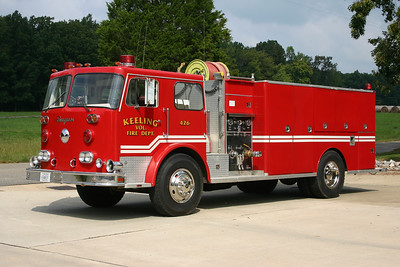 Keeling, VA in Pittsylvania County   Fire 426  1978 Seagrave PC-20066  350/1750  with Seagrave serial number H74139.  ex- Virginia Beach, VA Tanker 6, 7, 20.  VA Beach donated this tanker to Ringgold, VA 12/2001 after their station fire.  Ringgold created a substation in Keeling, where this truck was assigned.  Keeling became independent, and kept the Seagrave.  The lime green hose reel came from a scrapped Danville, VA truck.  Photographed in 2008.