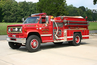 Keeling, VA Fire 421, a 1983 Chevrolet 70/FMC Roughneck with a 750/750.  Serial number 8864.  Ex- Ringgold, VA.