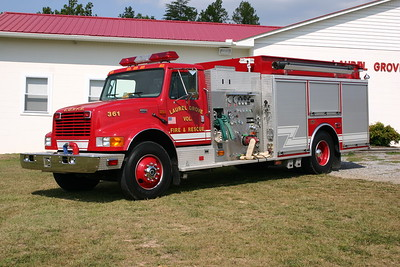 Fire 361 in Laurel Grove, VA is a 2000 International 4900/KME  1250/1000.  GSO 4698.