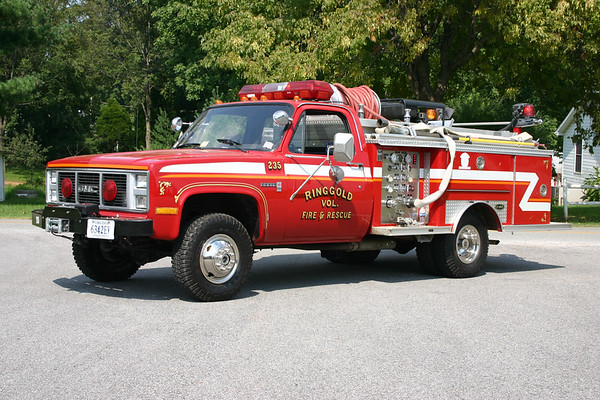Fire 235 from Ringgold, VA is a 1988 Chevrolet Sierra 3500/E-One with a 250/250.  E-one serial number 6581.  Ex- Tallahassee, Florida.  Purchased by Ringgold in 2002.