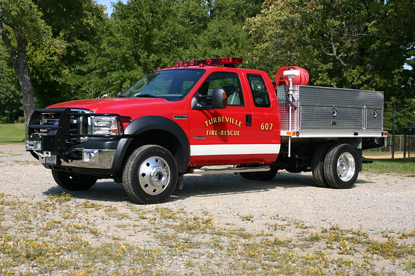 Trubeville, VA (Halifax County) Brush 607 is a 2006 Ford F550/Slagles with a 250/250.  Photographed in 2008.