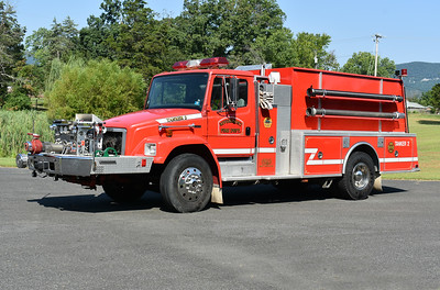 Rivermont, Virginia Tanker 2, a 1993 Freightliner 80/KME with a 1000/1500.  GSO 1909.  This tanker was donated to Rivermont by the Great Cacapon VFD in Morgan County, Virginia, where it once ran as Engine-Tanker 22.  Photographed in late July of 2019, shortly before being placed into service.