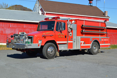 Great Cacapon, West Virginia Engine - Tanker 22, a 1993 Freightliner 80/KME 1000/1500 with serial number GSO 1909.  This tanker was donated to Rivermont, VA (Warren County) in 2019.