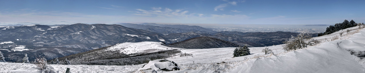 A wide panorama view near the summit of Whitetop Mountain in Whitetop, VA on Friday, February 14, 2014. Copyright 2014 Jason Barnette  Whitetop Mountain is the highest place in Virginia you can drive at 5,552', second in height only to nearby Mount Rogers. The top of the mountain is accessible by a gravel road, managed by the National Park Service, and open year-round to day-use visitors.