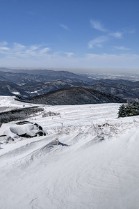 The snow-covered landscape near the summit of Whitetop Mountain in Whitetop, VA on Friday, February 14, 2014. Copyright 2014 Jason Barnette  Whitetop Mountain is the highest place in Virginia you can drive at 5,552', second in height only to nearby Mount Rogers. The top of the mountain is accessible by a gravel road, managed by the National Park Service, and open year-round to day-use visitors.