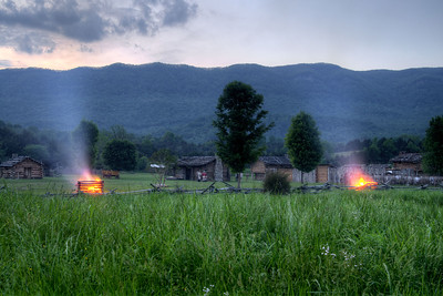 Two fires continue to burn after the conclusion of the night raid at the 15th Annual Raid at Martin's Station at Wilderness Road State Park in Ewing, VA on Saturday, May 9, 2015. Copyright 2015 Jason Barnette
