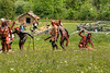 Native American reeanctors attack colonial reenactors during the battle at the 15th Annual Raid at Martin's Station at Wilderness Road State Park in Ewing, VA on Saturday, May 9, 2015. Copyright 2015 Jason Barnette