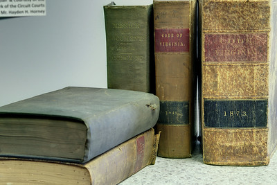 A set of law books on display at The Edith Bolling Wilson Birthplace Museum on Main Street in Wytheville, VA on Wednesday, July 23, 2014. Copyright 2014 Jason Barnette