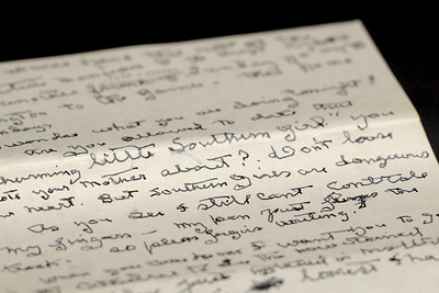 """My favorite line, """"But southern girls are dangerous,"""" in a letter written by Edith Bolling Wilson on November 1961, just two months before her death, to her great-nephew Cary Fuller, on display at The Edith Bolling Wilson Birthplace Museum on Main Street in Wytheville, VA on Friday, August 1, 2014. Copyright 2014 Jason Barnette"""