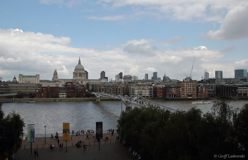 St. Paul's and the Millenium Bridge from The Tate Modern - London, England